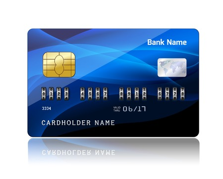plastic card: Realistic credit card with security combination code lock for financial protection concept isolated