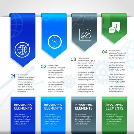 title page: Abstract paper business infographics layout design elements for ribbons bookmarks and selections with icons