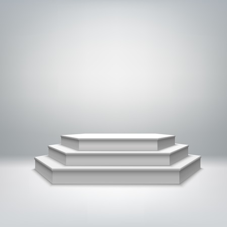 Blank white stage podium for award ceremony event  Vector