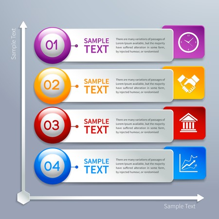 xyz: Abstract business paper chart infographics layout template with choice buttons and labels  Illustration