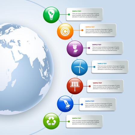 エネルギーやエコロジー環境グリーン ビジネス インフォ グラフィック デザイン ボタンとオプションの要素  イラスト・ベクター素材