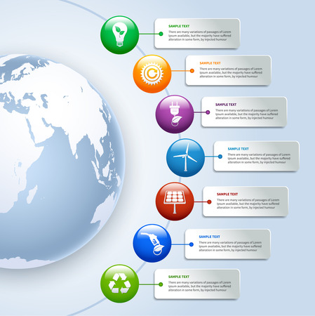 Energy and ecology environment green business infographics design elements of options and buttons
