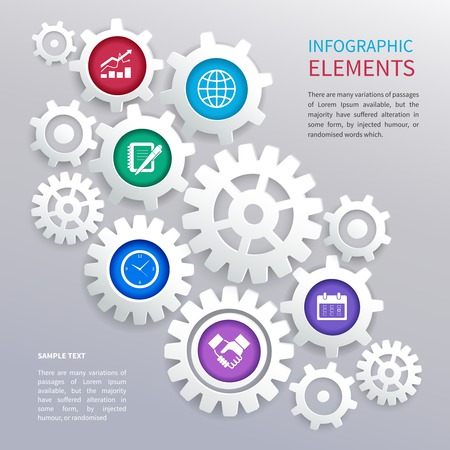 Abstract business paper chart infographics elements template with gears and business icons  Vector