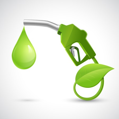緑の給油ノズル葉とバイオ燃料の概念と自然エネルギーの概念をドロップ