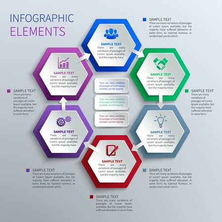 Abstract paper hexagons geometric shape business infographics design template  Vector