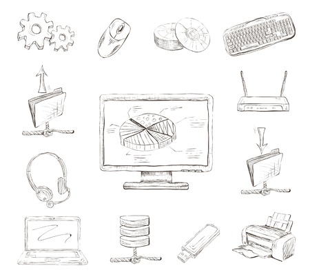 desktop printer: Business computer icons set of workplace desktop printer and wireless network router hand drawn isolated sketch Illustration