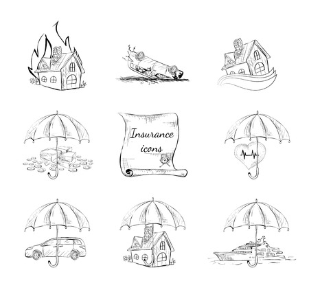 Insurance security icons set of property car house and health protection isolated hand drawn sketch  Vector
