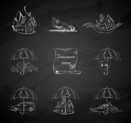 life event: Chalk board insurance security icons design elements isolated hand drawn sketch