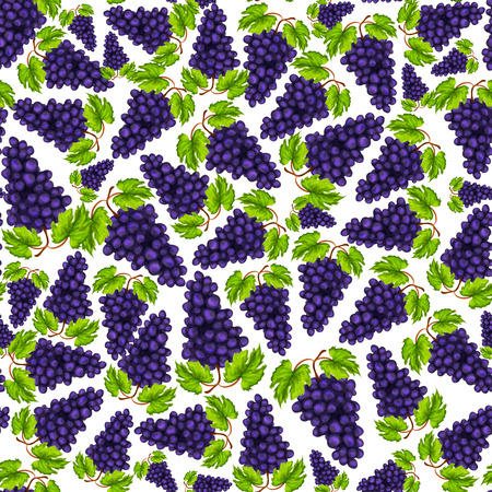 Seamless natural organic sweet grapes fruit pattern hand drawn sketch  Vector