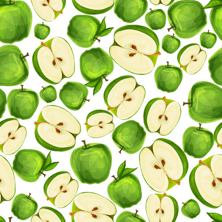 Seamless apple fruit sliced in half with seed and leaves pattern hand drawn sketch