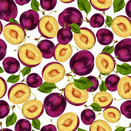 passion ecology: Seamless plum fruit sliced in half with seed leaves and juicy meat pattern hand drawn sketch