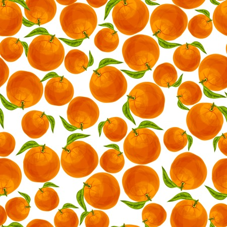 passion ecology: Seamless natural organic juicy orange with leaf fruit pattern Illustration