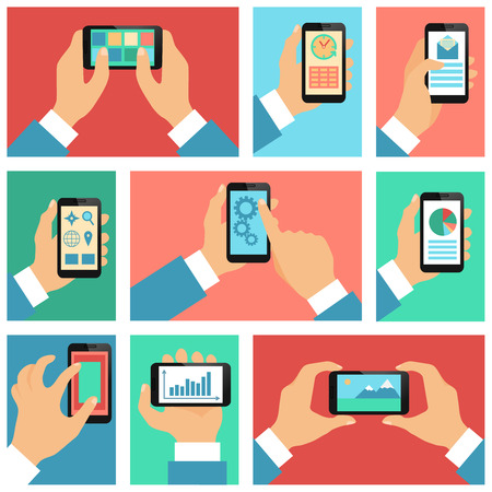 Collection of hands using mobile phone with business apps and social media content isolated Stock Vector - 27139781