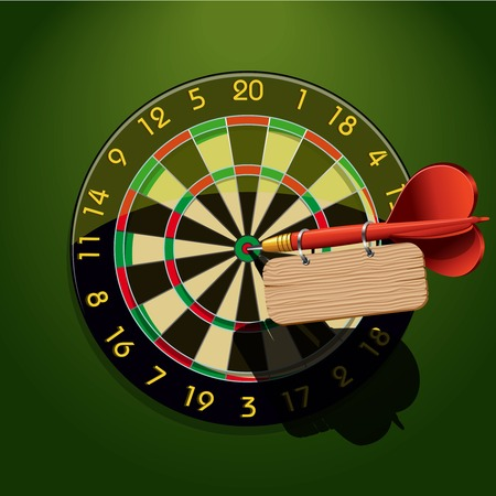 goal achievement: Dartboard with dart and blank table template in the center concept goal achievement  Illustration