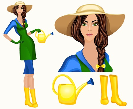brim: Attractive young gardener woman standing in wide brim hat and wellingtons with watering
