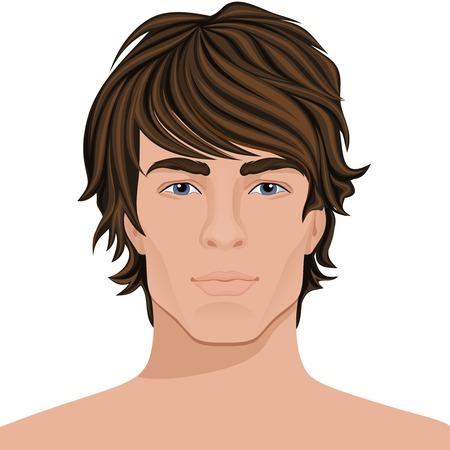 茶髪: 茶色の髪の顔の肖像画とハンサムな若い男