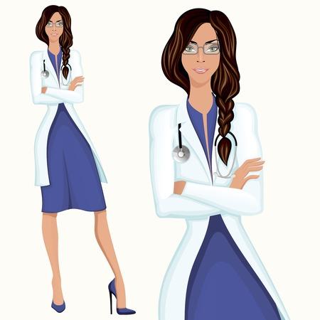 medical assistant: M�dico profesional atractiva joven ayudante doctor empleado de pie en bata blanca de laboratorio Vectores