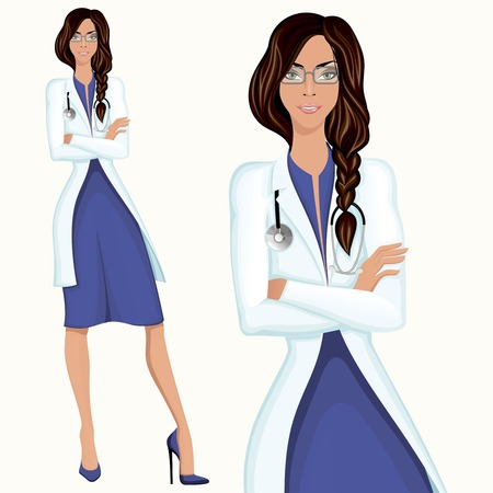 Medical professional attractive young doctor assistant employee standing in white lab coat  Vector