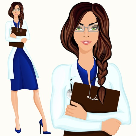 Medical attractive doctor assistant standing in white lab coat with document folder Vector