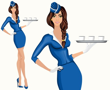 Young attractive long legged flight attendant stewardess standing with drinks