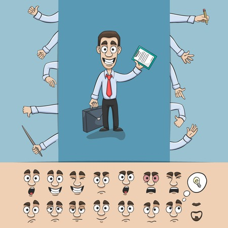 facial gestures: Business man character construction pack hand gestures and facial emotions design elements isolated  Illustration