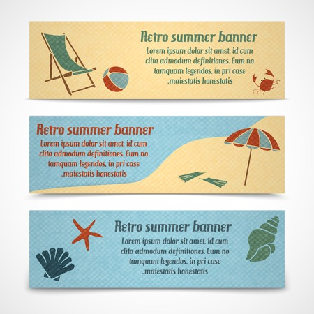 coastline: A set of horizontal summer vacation banners with a chaise lounge on the beach a coastline and water with marine animals