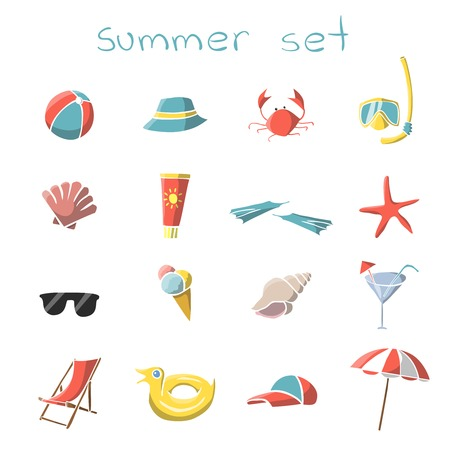 Summer vacation travel icons set of snorkel mask crab panama and parasol isolated  Vector