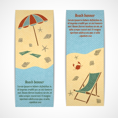 coastline: A set of retro vertical summer vacation travel banners with a coastline parasol sun lounger fins crab and seashell