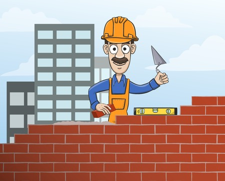 construction worker cartoon: Construction site mason worker in helmet building red brick wall with trowel vector illustration