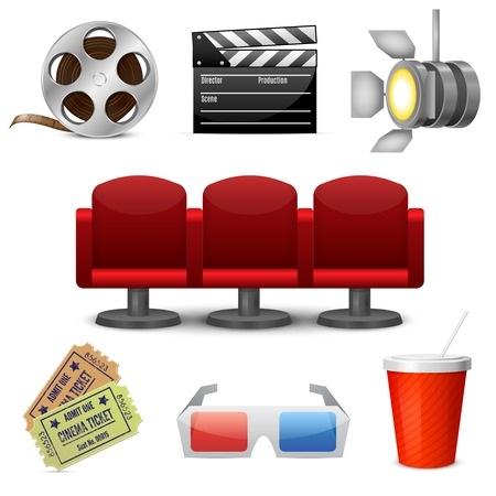 Cinema entertainment decorative icons set of film movie tickets and theatre chairs design elements isolated  Vector