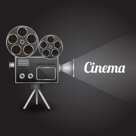 movie projector: Cinema entertainment concept poster layout template with retro camera projector