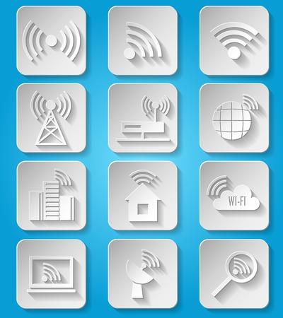 point chaud: Communication d�di�s aux entreprises du r�seau sans fil papier ic�nes ensemble de caf� wifi recherche de signal hotspot et dispositif de routeur isol� Illustration