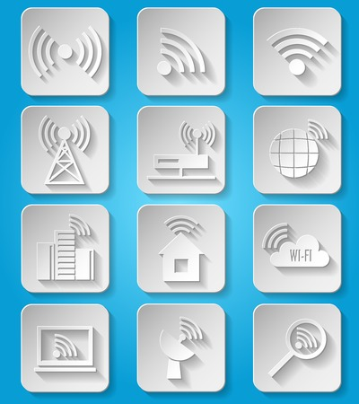 wireless hot spot: Wireless communication network business paper icons set of cafe wifi hotspot signal search and router device isolated  Illustration