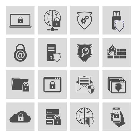 pictogrammes de sécurité des technologies de l'information collecte de l'ordinateur et de la sécurité en ligne isolé Vecteurs