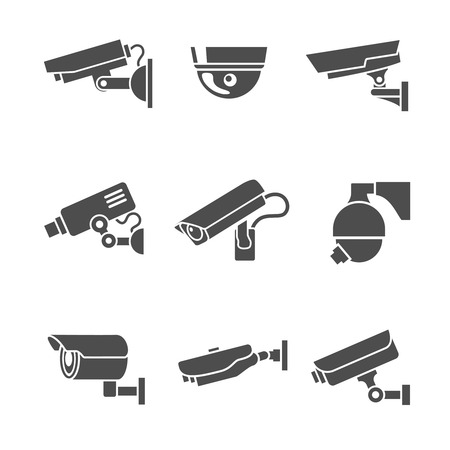 při pohledu na fotoaparát: Video monitorovací bezpečnostní kamery grafické symboly nastavit izolované vektorové ilustrace