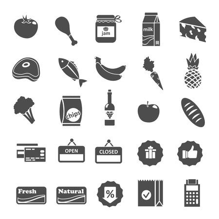 Supermarket food grocery items and symbols icons or stickers set isolated