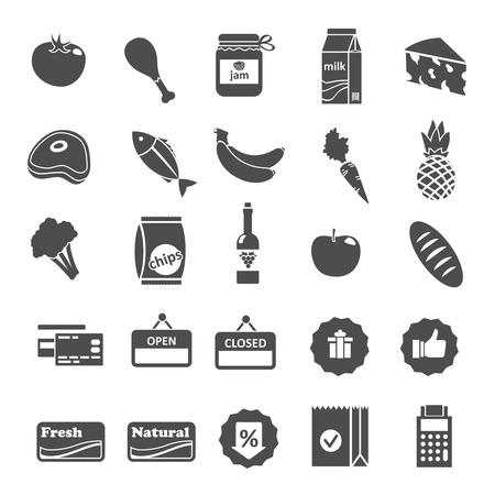 Supermarkt voedsel kruidenierswaren en symbolen iconen of stickers set geïsoleerde Stock Illustratie