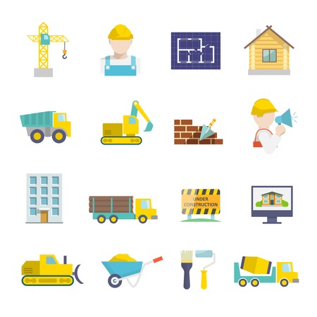 Construction vehicles facilities and building tools icons set isolated  Vector