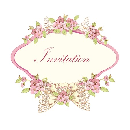 Cherry invitation card design with pink frame and lace bow  Vector