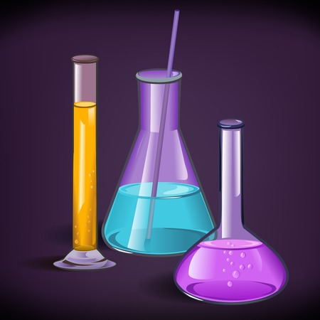 Chemical laboratory set of flasks glassware with tube and cork on violet background print template vector illustration Vector