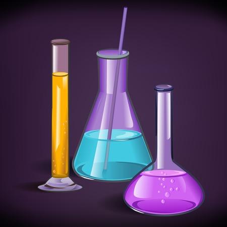 drug test: Chemical laboratory set of flasks glassware with tube and cork on violet background print template vector illustration