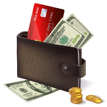 woman credit card: Classic modern black leather wallet with bank credit card banknotes and pile of gold coins  Illustration