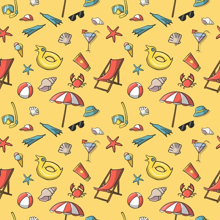 Seamless summer vacation travel pattern background  Vector