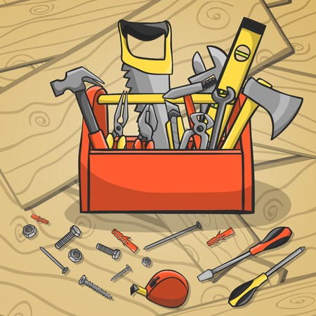 Carpenter toolbox with screwdriver hammer handsaw wrench and scattered instruments on a wooden background