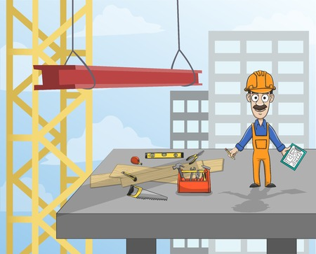 construction worker cartoon: Highrise building construction worker with instruments standing on concrete platform  Illustration