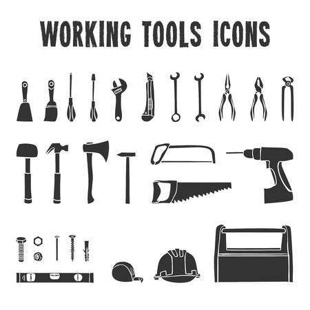 A collection of decorative construction or carpenter tool black  icons set isolated