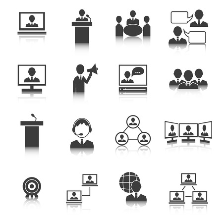 client: Business people meeting online and offline strategic concepts icons set isolated vector illustration