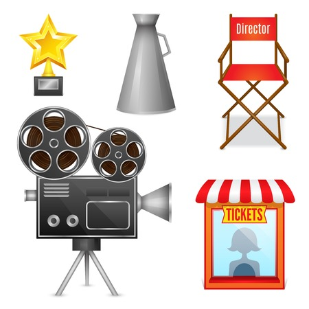 director chair: Cinema entertainment decorative icons set of camera film projector ticket booth and director chair design elements isolated  Illustration
