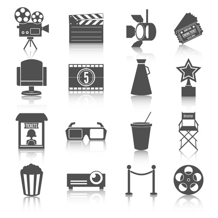 Cinema entertainment icons set of film popcorn movie tickets theatre chairs and projector lamp  Vector