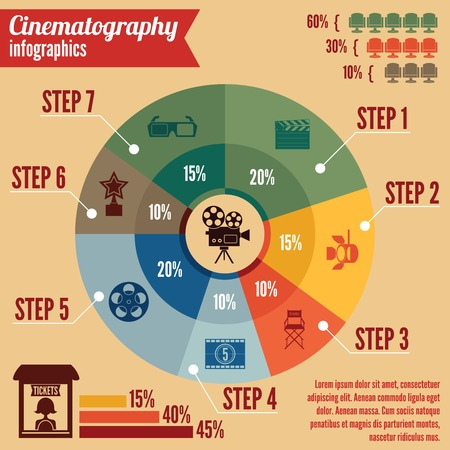 Cinema entertainment business infographics design elements for presentation layout with icons and charts  Vector